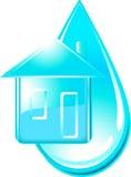 Huis en daling van water Stock Foto