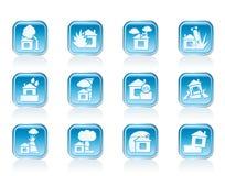 Huis en de pictogrammen van het van de huisverzekering en risico Royalty-vrije Stock Afbeelding