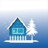 Huis en de winter Stock Afbeeldingen