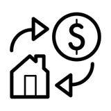 Huis en dollar eenvoudig vectorpictogram Zwart-witte illustratie van onroerende goederen Overzichts lineair pictogram Stock Afbeelding