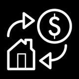 Huis en dollar eenvoudig vectorpictogram Zwart-witte illustratie van onroerende goederen Overzichts lineair pictogram Stock Foto