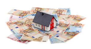 Huis en euro bankbiljetten Royalty-vrije Stock Afbeelding