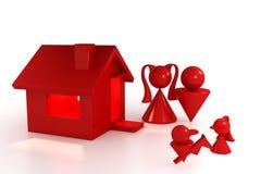 Huis en familie Royalty-vrije Illustratie