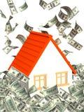 Huis en geld royalty-vrije illustratie