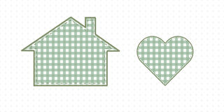 Huis en hart, handwerk Leuke Babystijl Stock Afbeeldingen