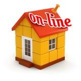 Huis en online (het knippen inbegrepen weg) Stock Foto