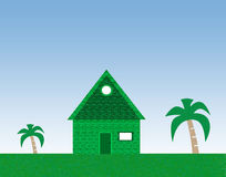 Huis en palmen royalty-vrije stock foto