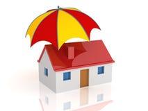 Huis en paraplu stock illustratie