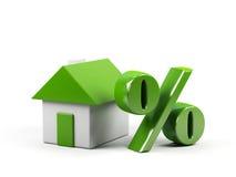 Huis en percentensymbool. Stock Afbeelding
