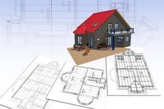 Huis en plan Royalty-vrije Stock Afbeelding
