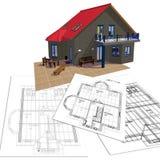 Huis en plan royalty-vrije illustratie