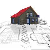 Huis en plan Stock Foto's
