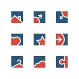 Huis en reeks van het familie de eenvoudige embleem Royalty-vrije Stock Afbeelding
