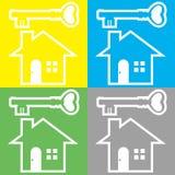 Huis en Sleutel Stock Afbeelding