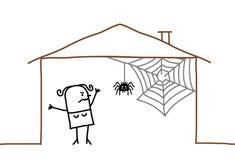 huis en spinneweb Stock Foto's