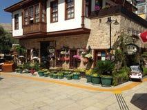 Huis en terras met bloemen stock afbeelding