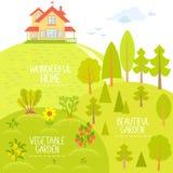 Huis en tuin Royalty-vrije Stock Foto