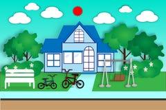 Huis en tuin voor oefening en ontspanning - vector Stock Afbeelding