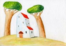 Huis en twee bomen Royalty-vrije Stock Afbeeldingen