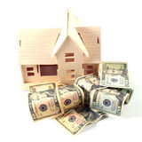 Huis en verschillende dollar stock afbeeldingen