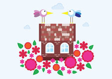Huis, familie, de lente Stock Foto