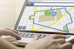 Huis gegevensverwerkingsnavigatie app Stock Foto's