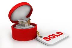 Huis in giftdoos, voor verkoop Royalty-vrije Stock Afbeeldingen