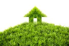 Huis groen gras Stock Afbeelding