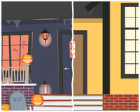 Huis before and after Halloween Stock Foto's