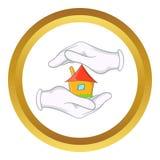 Huis in handen vectorpictogram royalty-vrije illustratie