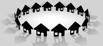 Huis in heldere cirkel van communautaire huizen Stock Afbeeldingen