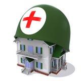 Huis in helm een rood kruis Royalty-vrije Stock Foto's
