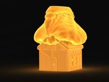 Huis in het brandconcept Stock Foto's