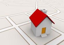 Huis in het concept van kaartonroerende goederen Stock Foto