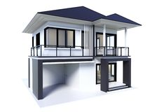 Huis het 3d moderne teruggeven geïsoleerd vector illustratie