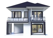 Huis het 3d moderne teruggeven geïsoleerd stock illustratie