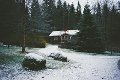 Huis in het hout stock afbeelding