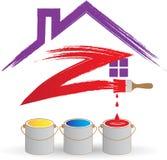 huis het schilderen embleem Stock Foto