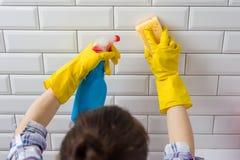 Huis het schoonmaken Vrouw die karweien in badkamers thuis doen stock foto