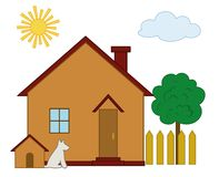 Huis, hond en boom Stock Foto's