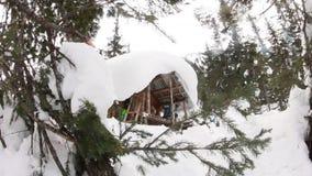 Huis houten chalet in de winter in de sneeuw rond de boom, videoschuif stock video