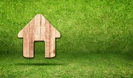 Huis houten pictogram in groene grasruimte, Eco-concept Stock Afbeeldingen