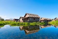 Huis in inlemeer, Myanmar. Royalty-vrije Stock Foto's