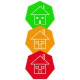 Huis in kleurenvorm op witte achtergrond Stock Foto's