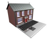 Huis-koopt op Internet Stock Foto's