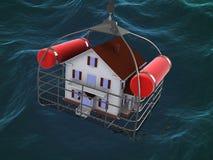 Huis in mand over water Stock Afbeelding