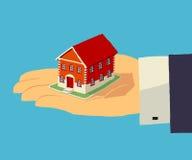 Huis in menselijke hand Makelaardij, verzekering, huis Stock Foto