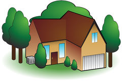 Huis met Airconditioning stock illustratie