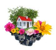 Huis met bloementribunes op vliegend eiland Stock Fotografie