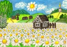 Huis met camomiles, het schilderen Royalty-vrije Stock Foto